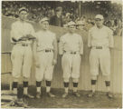 Babe Ruth with pitchers Shore, Leonard, and Foster, 1915